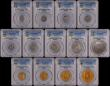 London Coins : A165 : Lot 1603 : Proof Set 1902 Long Matt Set 13 coins all in PCGS holders Five Pounds PR61, Two Pounds PR63, Soverei...