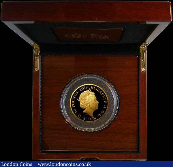 Ten Pounds 2019 The Tower of London Coin Collection - The Legend of the Ravens 5oz. .999 Gold Proof FDC in the impressive Royal Mint box of issue with certificate and booklet, number 23 of only 45 minted, with just 35 in this presentation format : English Cased : Auction 165 : Lot 1722