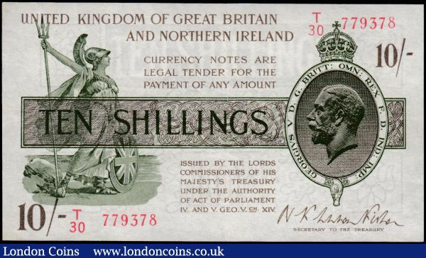 Ten Shillings Fisher T33 Third issue Northern Ireland in title Red Serial No. omitted issued 1927 first series T30 779378 GVF : English Banknotes : Auction 165 : Lot 18