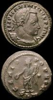 London Coins : A165 : Lot 1994 : Roman (2) Follis Maxentius (306-312AD) Obverse: Bust right, laureate IMP C MAXENTIVS PF AVG, Reverse...