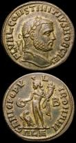London Coins : A165 : Lot 2009 : Roman Ae Follis (2) Constantius I (305-306AD) Obverse: Bust right, laureate, FL VAL CONSTANTIVS NOB ...