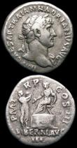 London Coins : A165 : Lot 2036 : Roman Denarii (2) Hadrian (117-138AD) Obverse: Laureate bust right IMP CAESAR TRAIAN HADRIANVS AVG, ...
