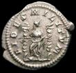 London Coins : A165 : Lot 2073 : Roman Denarius Macrinus (217-218AD) Obverse: Bust right, laureate, draped and cuirassed, IMP C M OPE...