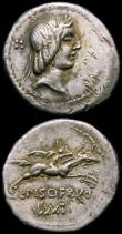London Coins : A165 : Lot 2096 : Roman Republic Denarius (3) C.Vibius C.f.Pansa (90BC) Obverse: Laureate Head of Apollo right, PANSA ...