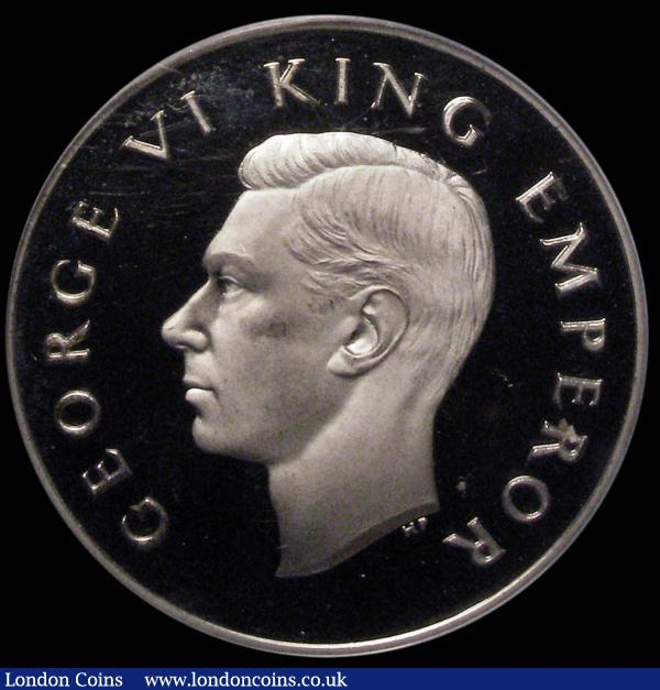 New Zealand Trial piece Crown-sized undated uniface, George VI bust obverse with designer's initials HP below, GEORGE VI KING EMPEROR, the obverse with prooflike fields, the bust sharp and frosted, in a PCGS holder and graded SP66 : World Coins : Auction 165 : Lot 2233