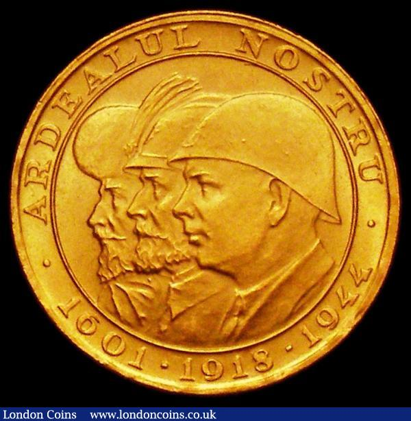 Romania 20 Lei Gold 1944 Romanian Kings X#M13 UNC : World Coins : Auction 165 : Lot 2245