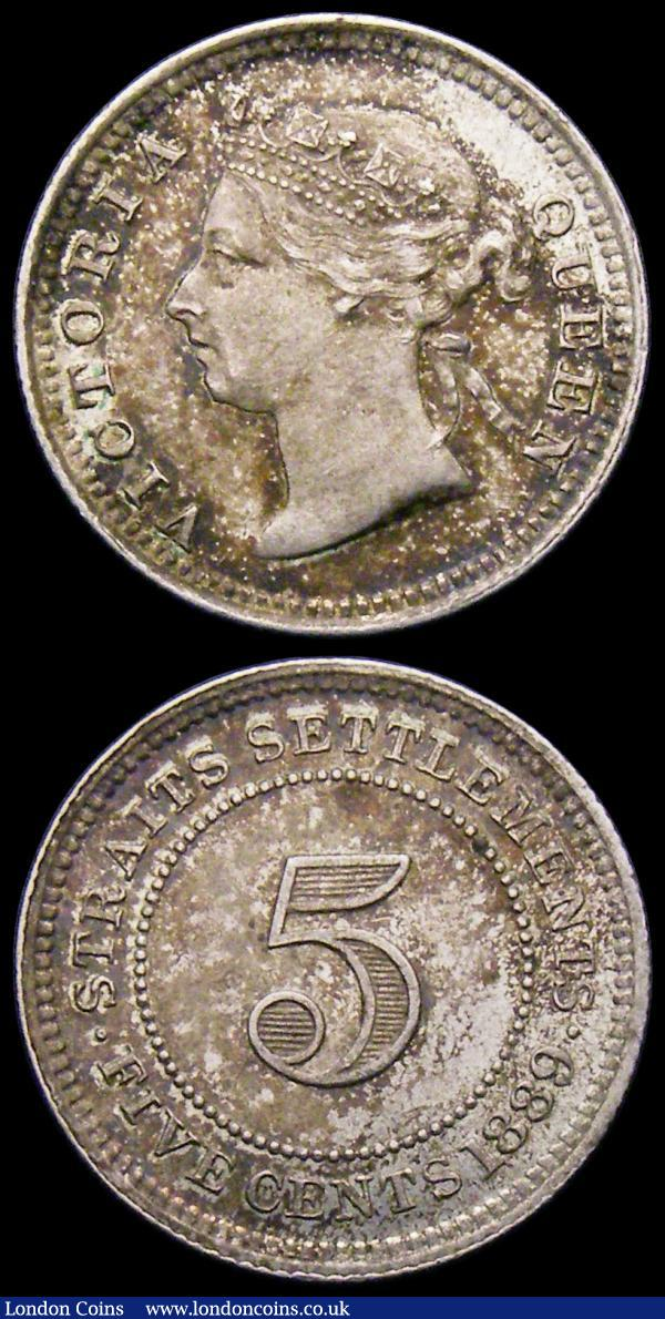 Straits Settlements (2) Five Cents 1889 KM#10 EF/NEF and colourfully toned, One Cent 1900 KM#16 EF/NEF : World Coins : Auction 165 : Lot 2283