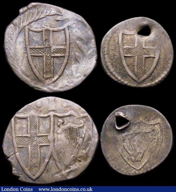 Commonwealth issues (4) Halfgroat S.3221 Near Fine, lightly creased, Pennies S.3222 (2) Good Fine on an irregular flan and Fine with some weak areas, Halfpenny S.3223 Fine, holed : Hammered Coins : Auction 165 : Lot 2388
