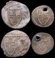 London Coins : A165 : Lot 2388 : Commonwealth issues (4) Halfgroat S.3221 Near Fine, lightly creased, Pennies S.3222 (2) Good Fine on...