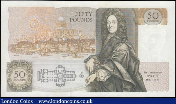 Fifty Pounds Gill B356 issued 1988 series D50 618772, Sir Christopher Wren reverse, Pick381b, UNC : English Banknotes : Auction 165 : Lot 248