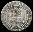 London Coins : A165 : Lot 2480 : Sixpence James I 1605 Second Coinage, Third Bust S.2657 mintmark Rose Fine/Good Fine with bold portr...