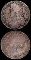 London Coins : A165 : Lot 2500 : Crown 1688 QVARTO ESC 80, Bull 746 VG, Halfcrown 1685 PRIMO ESC 493, Bull 748 VG/Fair with an edge n...