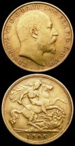 London Coins : A165 : Lot 2701 : Half Sovereigns (2) 1877 Marsh 452 Die Number 53 GVF/VF, 1906 Marsh 509 Good Fine/Fine the obverse w...