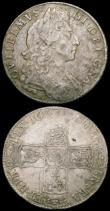 London Coins : A165 : Lot 2766 : Halfcrowns (2) 1689 First Shield, Caul and Interior frosted, with pearls, ESC 504, Bull 830 Fine, 16...