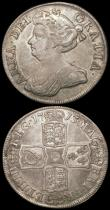 London Coins : A165 : Lot 2768 : Halfcrowns (2) 1707 SEPTIMO, Plain in angles ESC 574, Bull 1366 Fine, 1713 Plain in Angles ESC 583, ...