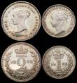 London Coins : A165 : Lot 2797 : Maundy Set 1852 ESC 2462, Bull 3495 the Fourpence, Twopence and Penny EF to A/UNC with matching tone...