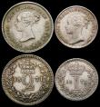 London Coins : A165 : Lot 2804 : Maundy Set 1871 ESC 2483, Bull 3523 NEF to GEF the Fourpence and Penny with some small traces of dir...