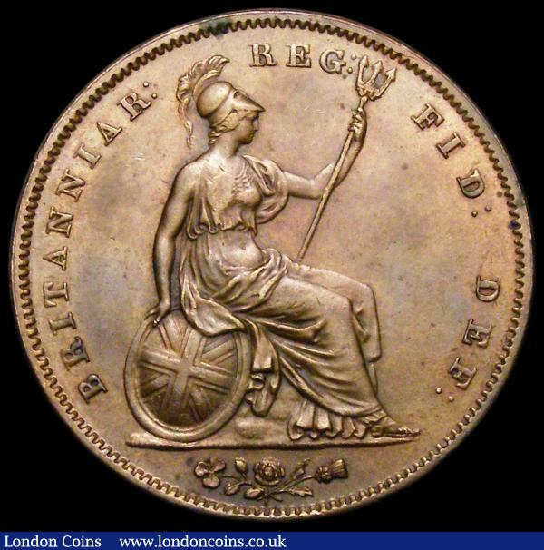 Penny 1851 DEF Close Colon Peck 1499 AU/GEF the obverse with toning : English Coins : Auction 165 : Lot 2824