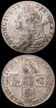 London Coins : A165 : Lot 2883 : Shillings (2) 1743 Roses ESC 1203, Bull 1720 VF/NVF and nicely toned, 1745 LIMA ESC 1205, Bull 1724 ...