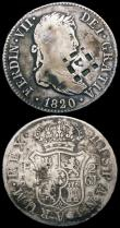 London Coins : A165 : Lot 3608 : Cuba 2 Reales Lattice countermark on Spanish 2 Reales (2) 1820 GJ KM#5 (countermark on Spain KM#460....
