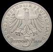 London Coins : A165 : Lot 3625 : Germany - Federal Republic 5 Marks Commemorative Coinage 1955 F Schiller prooflike Unc but once clea...