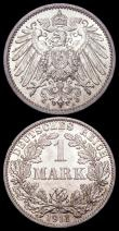 London Coins : A165 : Lot 3630 : Germany 1 Mark (2) 1910A KM#14 Lustrous UNC with a small tone spot, 1911A KM#14 Lustrous UNC with mi...