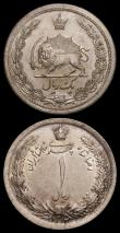 London Coins : A165 : Lot 3685 : Iran (2) 5 Rials AH1328 (1949) KM#1145 Lustrous UNC with a few tone spots, 1 Rial AH1312 (1933) KM#1...