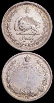 London Coins : A165 : Lot 3686 : Iran (2) Rial SH1311 (1931) KM#1129 GVF Rare, 5 Rials SH1327 (1948) KM#1145 About EF