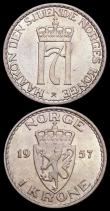 London Coins : A165 : Lot 3746 : Norway 1 Krone (2) 1951 Thin border dentilations KM#397.1 UNC with a very small tone spot, 1957 KM#3...