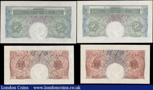 Bank of England (4) an early group comprising Mahon (2) Ten Shillings B210 Red/Brown issue 1928, series Y06 380863 VF and One Pound Green B212 issued 1928 series C82 919239 GEF, along with Catterns (2) Ten Shillings B223 Red/Brown Issue 1930 series R59 710369, UNC or near so and One Pound Green B225 issued 1930, series M91 371127, about UNC : English Banknotes : Auction 165 : Lot 38