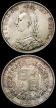 London Coins : A165 : Lot 3896 : Halfcrowns (2) 1888 ESC 721, Bull 2773 NEF/EF and nicely toned, 1889 ESC 722, Bull 2774, Davies 647 ...