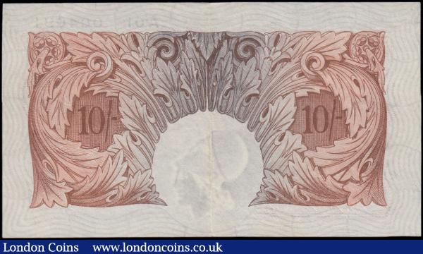 Ten Shillings Mahon B210 Red/Brown issue 1928 inaugural run and a very low serial number A01 004091 EF. Exceptionally Scarce note. This is a rare opportunity to acquire this low serial inaugural run note in this high grade : English Banknotes : Auction 165 : Lot 39