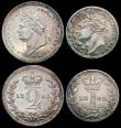 London Coins : A165 : Lot 3900 : Maundy Set 1823 ESC 2427, Bull 2446 Fourpence NVF/VF with some contact marks, Threepence Good Fine w...