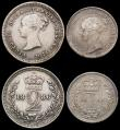 London Coins : A165 : Lot 3902 : Maundy Set 1886 ESC 2500, Bull 3543 NVF to EF the Penny and Fourpence nicely toned, the Threepence p...