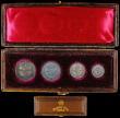 London Coins : A165 : Lot 3910 : Maundy Set 1896 ESC 2511, Bull 3554 GEF to A/UNC with matching tone, in a brown dated box, the lid d...