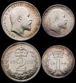 London Coins : A165 : Lot 3913 : Maundy Set 1908 ESC 2524, Bull 3614 NEF to GEF, the Fourpence, Twopence and Penny lustrous, the Thre...