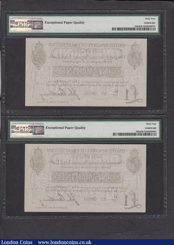 "One Pound Bradbury T11.2 Second issue 1914 (2) a consecutive pair series H1/37 68894 & H1/37 68895 both in PMG holders graded Choice Uncirculated 64 EPQ, Exceptional Paper Quality. Type 2 serial number prefix with a letter accompanied by a small number ""1"". Printed by De La Rue on banknote paper manufactured by William Joynson & Co. with watermark of wavy lines incorporating the Royal Cypher : English Banknotes : Auction 165 : Lot 4"