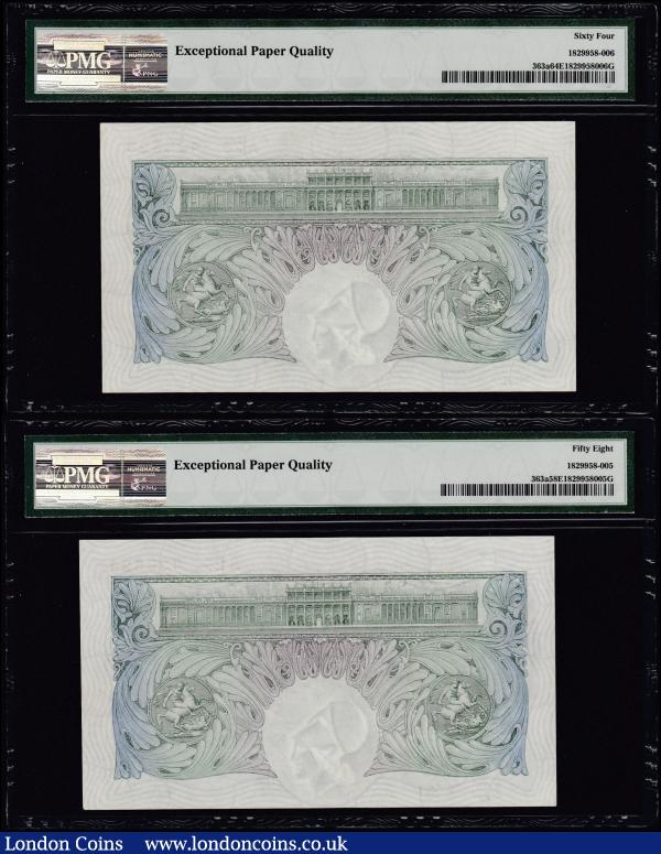 One Pounds Green Mahon B212 issue 1928 (2) a consecutive pair first series A25 436523 & A25 436524 both in PMG holders graded Choice Uncirculated 64 EPQ, Exceptional Paper Quality & Choice About UNC 58 EPQ, Exceptional Paper Quality. Printed at St. Luke's Works Old Street London on banknote paper manufactured by Portals Ltd with a watermark of wavy lines and the helmeted Britannia facing right these notes are Rarely seen in these high grades therefore this being a rare opportunity to acquire some  : English Banknotes : Auction 165 : Lot 42
