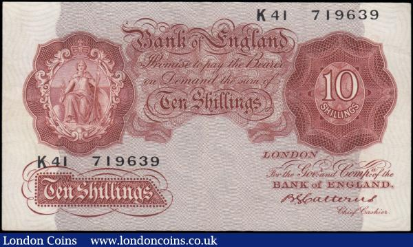 Ten shillings Catterns B223 issued 1930 last series K41 719639, Pick362b, cleaned & pressed VF : English Banknotes : Auction 165 : Lot 47