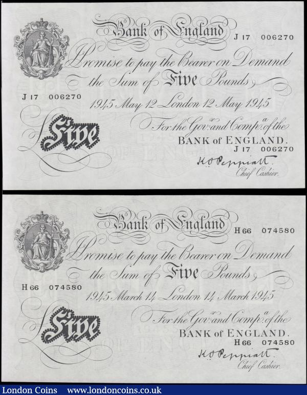 Five Pounds Peppiatt White note B255 Thick paper Threaded Second Period issues (2) comprising a 14th March 1945 series H66 074580 LONDON branch issue UNC and rare in this condition along with a 12th May 1945 series J17 006270 LONDON branch issue pressed GVF : English Banknotes : Auction 165 : Lot 521