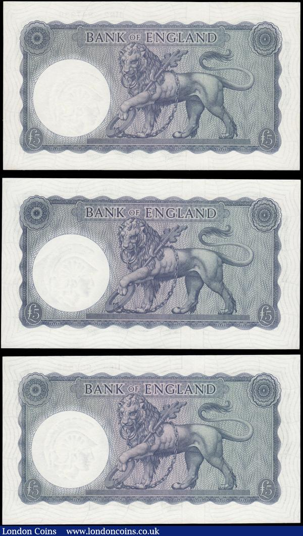 Five Pounds O'Brien Lion & Key B280 £5 White Symbol issues 1961 (3) a mixed high grade group GEF - UNC all FIRST series H64 387855, H78 569681 & H82 847338 : English Banknotes : Auction 165 : Lot 532
