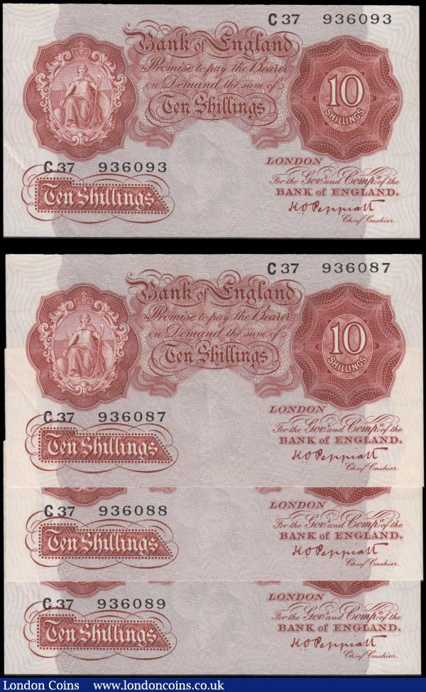 Ten Shillings Peppiatt B235 Red/Brown First Period issues 1934 (4) a consecutive set of 3 series C37 936087 to C37 936089 and the other only a few numbers away series C37 936093. All GEF - about UNC : English Banknotes : Auction 165 : Lot 54