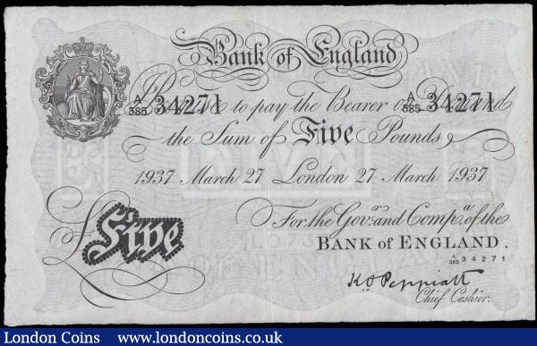 Five Pounds Peppiatt White Note B241 dated 27th March 1937 series A385 34271 LONDON branch issue VF with some dirt spots to right of note and  few faint rust spots at top right corner : English Banknotes : Auction 165 : Lot 56