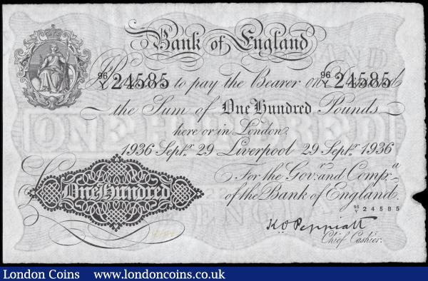 One Hundred Pounds Peppiatt B245e dated 29th September 1936 series 96Y 24585 LIVERPOOL branch issue with light inked numbers at lower left near denomination about UNC - UNC and a Exceptionally rare in this high grade : English Banknotes : Auction 165 : Lot 57