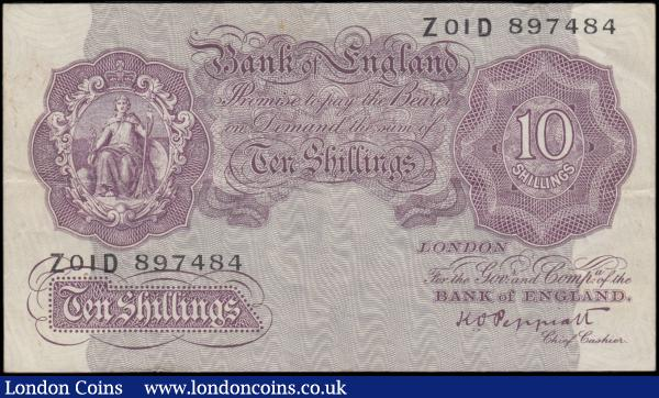 Ten Shillings Peppiatt B251 Second Period Mauve Emergency issue 1940  first run series Z01D 897484 VF or near so with some surface dirt and a faint small rust mark to top centre on obverse : English Banknotes : Auction 165 : Lot 62