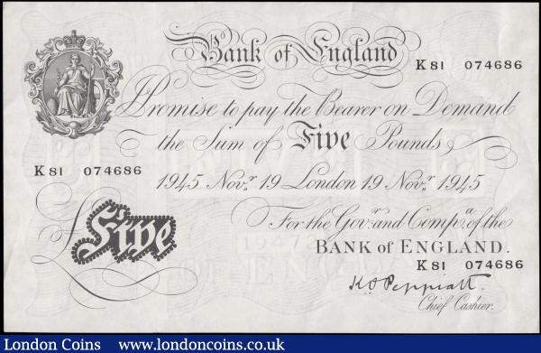Five Pounds Peppiatt White Note thick paper B255 dated 19th November 1945 K81 074686, GVF looks better : English Banknotes : Auction 165 : Lot 65