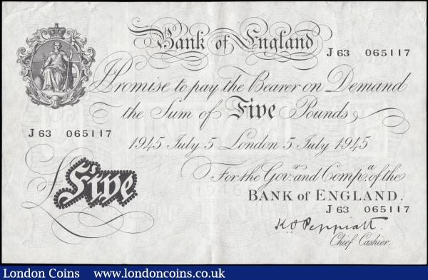 Five Pounds Peppiatt White Note thick paper B255 dated 5th July 1945 series J63 065117, GVF or better : English Banknotes : Auction 165 : Lot 69