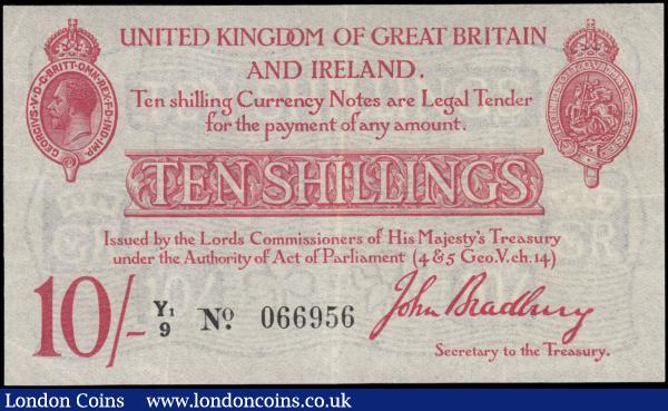 Ten Shillings Bradbury T13.2 Waterlow Red issue 1915 series Y1/9 066956,  small Pin Holes at George V medallion otherwise EF and scarce : English Banknotes : Auction 165 : Lot 7