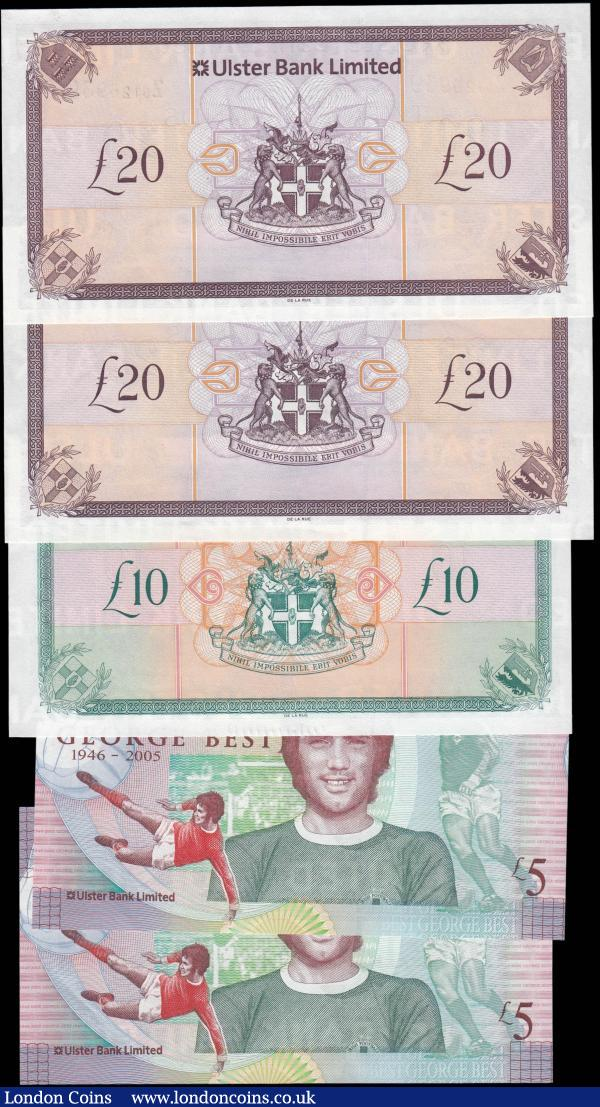 Northern Ireland Ulster Bank Limited signature C. McCarthy issues 2006-8 (5) comprising 5 Pounds Blake-Calloway UB95 dated 25th November 2006 (2) serial numbers GB266332 & GB276873, 10 Pounds Replacement issue Z prefix Blake-Calloway UB97R dated 1st January 2007 serial number Z0123365, 20 Pounds dated 1st January 2008 (2) including UB98 serial number H0659750 and a Replacement issue UB98R serial number Z0126939. All about UNC -UNC : World Banknotes : Auction 165 : Lot 736