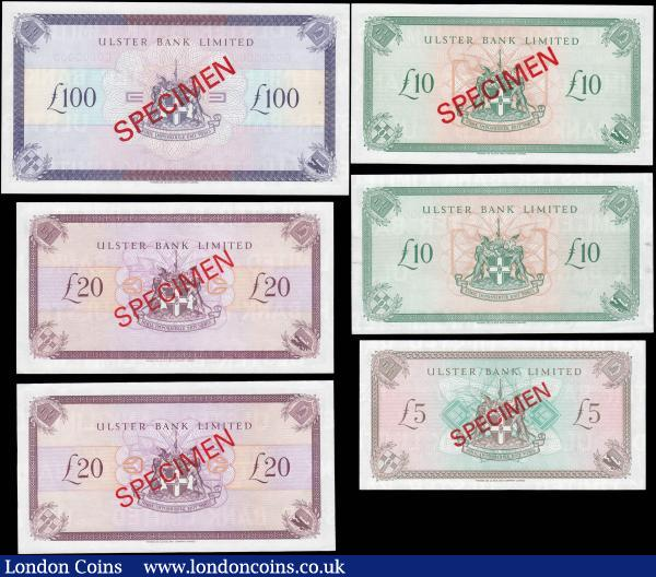 Northern Ireland Ulster Bank Limited signature D. Went SPECIMEN issues 1990s (6) comprising 5 Pounds Blake-Calloway UB83 dated 4th January 1993 serial number E0000000, 10 Pounds Blake-Calloway UB84 dated 1st December 1990 serial numbers F0000000 (2)  one without the SPECIMEN overprint, 20 Pounds Blake-Calloway UB85 dated 1st December 1990 serial numbers E0000000 (2) and 100 Pounds Blake-Calloway UB86 dated 1st December 1990 serial number G0000000.All but 1 of the 10 Pounds with red SPECIEMN overprint on obverse and reverse. All about UNC - UNC and Exceptionally scarce and seldom offered as a complete set : World Banknotes : Auction 165 : Lot 738